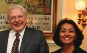 Sir David Attenborough and Rohini Finch