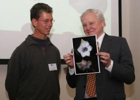Sir David Attenborough with Lou Jost and picture of his tree
