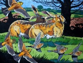Hares and Yellowhammers in spring.