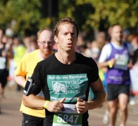 Andy Orchard runs the Royal Parks Half Marathon in 2012