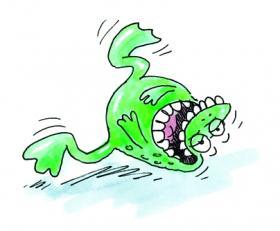 Laughing frog illustration. © 2013 Nick Park.