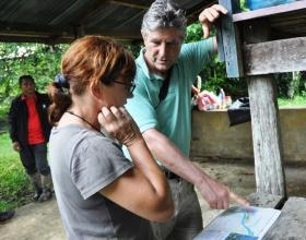 Simon Lyster with Isabelle Lackham on a field trip to Sabah, Borneo.
