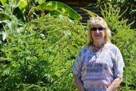 Miranda Stevenson in her garden.