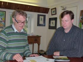 John Burton, left, and Paul Salaman (right) in John's office, Halesworth.