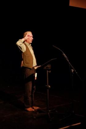 Simon Barnes on stage at The Cut, 8 November 2013. © Louis Skelton.
